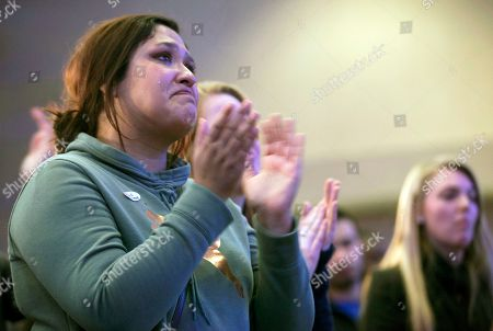 A tear runs down the cheek of Christina Nystrom, 25, of Fargo, N.D., while she applauds Sen. Heidi Heitkamp, D-N.D., at an election night event, in West Fargo, N.D. Republican Rep. Kevin Cramer defeated Heitkamp