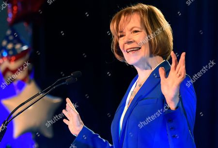 Sen. Tina Smith, D-Minn., speaks after winning a special election race to fill the vacated seat of former Sen. Al Franken during a election night event, in St. Paul, Minn