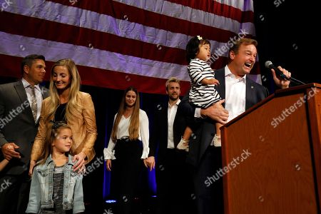 Sen. Dean Heller, R-Nev., on stage with his family, speaks during the NVGOP Election Night Watch Party in Las Vegas. Heller lost to Democrat Jacky Rosen
