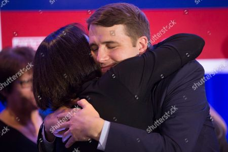 Democrat Chris Pappas (R) hugs a supporter after declaring victory over his opponent Republican Eddie Edwards,  at his election night headquarters at the The Puritan Backroom, Conference Center in Manchester, New Hampshire, USA, 06 November 2018. Democrat Chris Pappas defeated Republican Eddie Edwards in the seat for the United States Representative in the 1st District of New Hampshire.