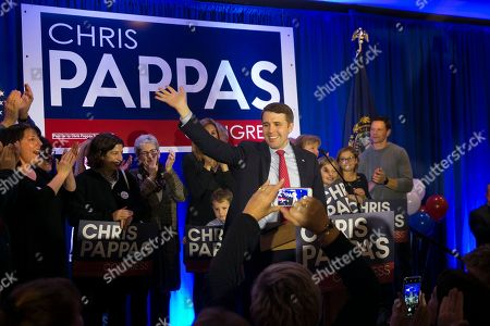 Stock Photo of Democrat Chris Pappas (C) declares victory over his opponent Republican Eddie Edwards,  at his election night headquarters at the The Puritan Backroom, Conference Center in Manchester, New Hampshire, USA, 06 November 2018. Democrat Chris Pappas defeated Republican Eddie Edwards in the seat for the United States Representative in the 1st District of New Hampshire.