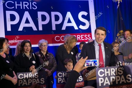Stock Picture of Democrat Chris Pappas (R) declares victory over his opponent Republican Eddie Edwards,  at his election night headquarters at the The Puritan Backroom, Conference Center in Manchester, New Hampshire, USA, 06 November 2018. Democrat Chris Pappas defeated Republican Eddie Edwards in the seat for the United States Representative in the 1st District of New Hampshire.
