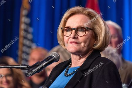 Stock Picture of US Senator Claire McCaskill concedes defeat to Missouri Attorney General Josh Hawley in the 2018 midterm general election during an election night party Marriott St. Louis Grand in Saint Louis, Missouri USA, 06 November 2018. McCaskill, a Democrat, was defeated by Republican Hawley.
