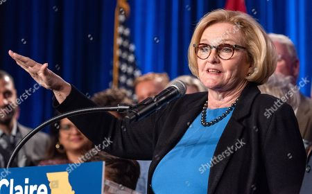 US Senator Claire McCaskill concedes defeat to Missouri Attorney General Josh Hawley in the 2018 midterm general election during an election night party Marriott St. Louis Grand in Saint Louis, Missouri USA, 06 November 2018. McCaskill, a Democrat, was defeated by Republican Hawley.