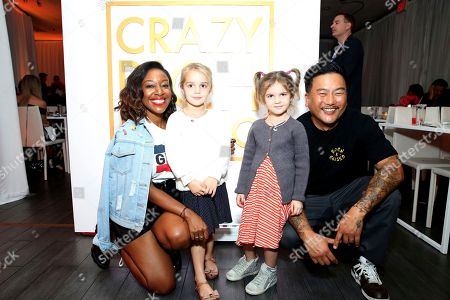"Kinya Claiborne, Emma Stauffer, Mila Stauffer, Roy Choi. Kinya Claiborne, Emma Stauffer, Mila Stauffer and Roy Choi seen at Crazy Rich Eating: A Pop-Up Restaurant Inspired by ""Crazy Rich Asians"", in West Hollywood, Calif"