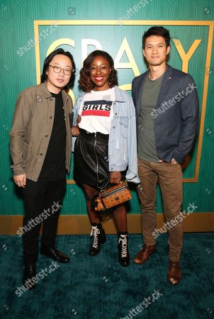 "Jimmy O. Yang, Kinya Claiborne, Harry Shum Jr. Jimmy O. Yang, Kinya Claiborne and Harry Shum Jr. seen at Crazy Rich Eating: A Pop-Up Restaurant Inspired by ""Crazy Rich Asians"", in West Hollywood, Calif"