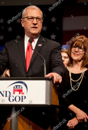Republican Senate candidate Kevin Cramer, flanked by his wife Chris, right and other members of his family, talks to supporters after he defeated Sen. Heidi Heitkamp, D-N.D., in Bismarck, N.D