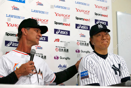 Don Mattingly Hideki Matsui. MLB All-Star manager Don Mattingly, left, pats on the shoulder of base coach Hideki Matsui during a press conference at Tokyo Dome in Tokyo . They are in Japan as part of a Major League Baseball All-Star tour that features six games against Japan's national team