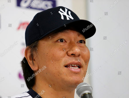 Stock Image of MLB All-Star first base coach Hideki Matsui speaks during a press conference at Tokyo Dome in Tokyo . Matsui, who started his professional career at Tokyo Dome with the Yomiuri Giants, will serve as a first base coach for the Major League team to play against Japan's national team