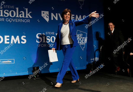 Rep. Jacky Rosen, D-Nev., takes the stage at a Democratic election night party, in Las Vegas, after defeating Sen. Dean Heller, R-Nev