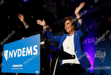 Rep. Jacky Rosen, D-Nev., waves on stage at a Democratic election night party, in Las Vegas, after defeating Sen. Dean Heller, R-Nev