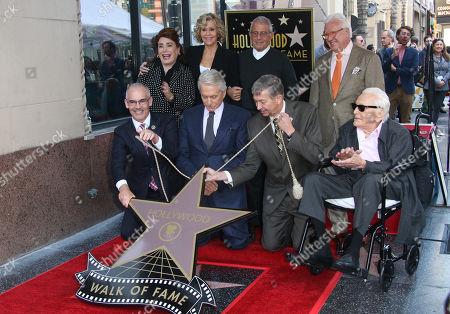 Mitch O'Farrell, Michael Douglas, Jane Fonda, Leron Gubler, Ron Meyer, Vin Di Bona, Kirk Douglas
