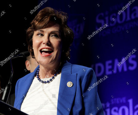 Democrat Jacky Rosen declares victory over incumbent US Senator Dean Heller, at her election night headquarters in the 2018 mid-term general election at Caesars Palace Las Vegas Hotel and Casino in Las Vegas, Nevada, USA, 06 November 2018.
