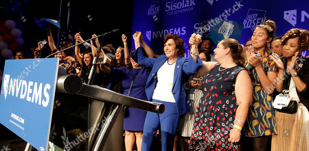 Democrat Jacky Rosen (C) declares victory over incumbent US Senator Dean Heller, at her election night headquarters in the 2018 mid-term general election at Caesars Palace Las Vegas Hotel and Casino in Las Vegas, Nevada, USA, 06 November 2018.