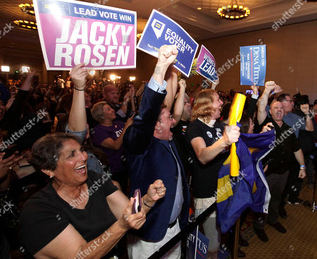 Supporters cheer as Democrat Jacky Rosen declares victory over incumbent US Senator Dean Heller, at her election night headquarters in the 2018 mid-term general election at Caesars Palace Las Vegas Hotel and Casino in Las Vegas, Nevada, USA, 06 November 2018.