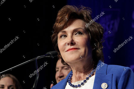 Stock Picture of Democrat Jacky Rosen declares victory over incumbent US Senator Dean Heller, at her election night headquarters in the 2018 mid-term general election at Caesars Palace Las Vegas Hotel and Casino in Las Vegas, Nevada, USA, 06 November 2018.