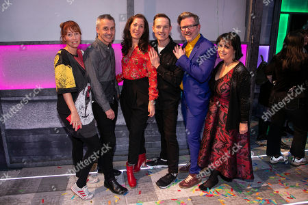 Kate Prince (Choreographer), Jonathan Butterell (Director), Anna Fleischle (Designer), Dan Gillespie Sells (Music), Tom MacRae (Author) and Nica Burns (Producer) backstage