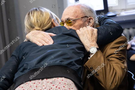 94 year old holocaust survivor,  Walter Frankenstein hugs the great grand-niece of Hans Soehnker, the actress Anneke Kim Sarnau prior to a ceremony at the memorial 'Stille Helden' (Silent Heroes) in Berlin, Germany, 07 November 2018. One of the most important tasks of Yad Vashem (Israel's memorial to the victims of the Holocaust) is to convey the gratitude of the state of Israel and the Jewish people to non-Jews who risked their lives to save Jews. They are honored as 'Righteous among the nations'. To date, 26,513 men and women have received this title.