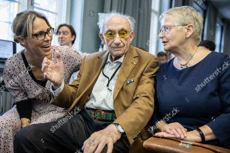 94 year old holocaust survivor,  Walter Frankenstein (c) sits between the great grand-niece of Hans Soehnker, the actress Anneke Kim Sarnau (L) and  the daughter of Heinz Guetzlaff, Kathrin Reiher (R) prior to a ceremony at the memorial 'Stille Helden' (Silent Heroes) in Berlin, Germany, 07 November 2018. One of the most important tasks of Yad Vashem (Israel's memorial to the victims of the Holocaust) is to convey the gratitude of the state of Israel and the Jewish people to non-Jews who risked their lives to save Jews. They are honored as 'Righteous among the nations'. To date, 26,513 men and women have received this title.