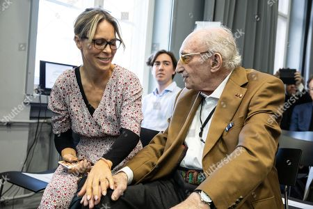Stock Picture of 94 year old holocaust survivor,  Walter Frankenstein (R) sits next to the great grand-niece of Hans Soehnker, the actress Anneke Kim Sarnau prior to a ceremony at the memorial 'Stille Helden' (Silent Heroes) in Berlin, Germany, 07 November 2018. One of the most important tasks of Yad Vashem (Israel's memorial to the victims of the Holocaust) is to convey the gratitude of the state of Israel and the Jewish people to non-Jews who risked their lives to save Jews. They are honored as 'Righteous among the nations'. To date, 26,513 men and women have received this title.