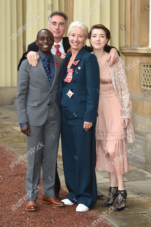 Dame Emma Thompson with husband Greg Wise, daughter Gaia Wise and son Tindyebwa Agaba Wise