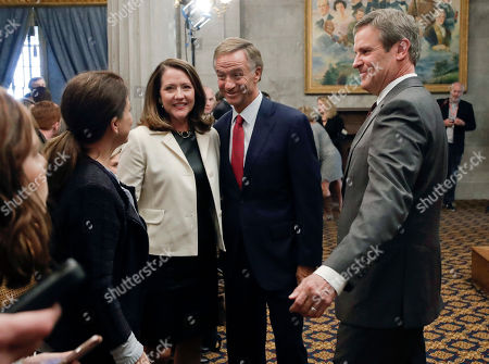 Bill Haslam, Bill Lee, Crissy Haslam, Maria Lee. Governor-elect Bill Lee, right, and Gov. Bill Haslam join their wives, Maria Lee, left, and Crissy Haslam after a news conference in the Capitol, in Nashville, Tenn. Bill Lee defeated Democrat Karl Dean in the gubernatorial race Tuesday