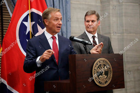 Gov. Bill Hasllam, left, speaks during a news conference with Governor-elect Bill Lee, right, during a news conference in the Capitol, in Nashville, Tenn. Lee defeated Democrat Karl Dean in the gubernatorial race Tuesday