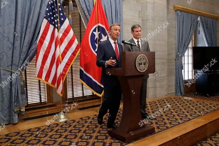 Gov. Bill Haslam, left, speaks during a news conference with Governor-elect Bill Lee, right, during a news conference in the Capitol, in Nashville, Tenn. Lee defeated Democrat Karl Dean in the gubernatorial race Tuesday