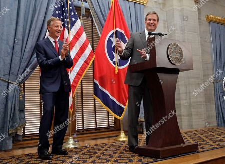 Governor-elect Bill Lee, right, speaks during a news conference with Gov. Bill Haslam, left, in Nashville, Tenn. Lee defeated Democrat Karl Dean in the gubernatorial race Tuesday