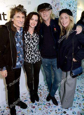 Ronnie Wood, Sally Wood, Sir Bob Geldof and Jeanne Marine