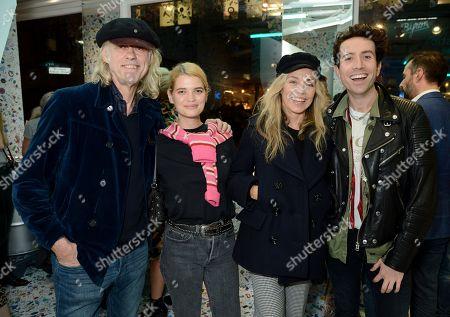 Sir Bob Geldof, Pixie Geldof, Jeanne Marine and Nick Grimshaw