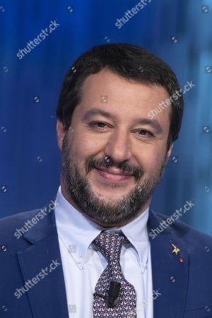 Italian Deputy Premier and Interior Minister, Matteo Salvini, attends the La7 TV program 'Otto e Mezzo' hosted by journalist Lilli Gruber in Rome, Italy, 07 November 2018.