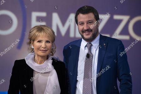 Italian Deputy Premier and Interior Minister, Matteo Salvini (R) attends the La7 TV program 'Otto e Mezzo' hosted by journalist Lilli Gruber (L) in Rome, Italy, 07 November 2018.