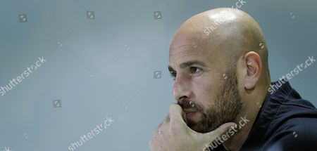 AC Milan's goalkeeper Pepe Reina attends a press conference in Seville, Andalusia, Spain, 07 November 2018, on the eve of their UEFA Europa League soccer match againt Real Betis.