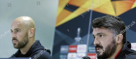 AC Milan's head coach Gennaro Gattusso (R) and goalkeeper Pepe Reina attends a press conference in Seville, Andalusia, Spain, 07 November 2018, on the eve of their UEFA Europa League soccer match againt Real Betis.
