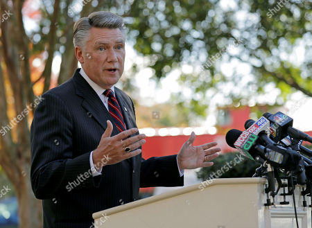 Mark Harris speaks to the media during a news conference in Matthews, N.C., . Harris is leading Dan McCready for the 9th congressional district in a race that is still too close to call