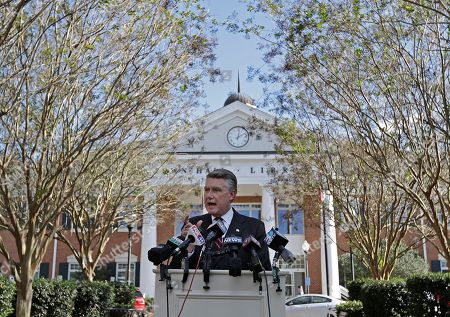Stock Photo of Mark Harris speaks to the media during a news conference in Matthews, N.C., . Harris is leading Dan McCready for the 9th congressional district in a race that is still too close to call