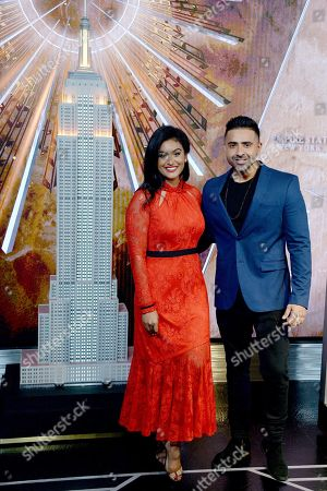 Editorial photo of Jay Sean and Nina Davuluri light the Empire State Building, New York, USA - 07 Nov 2018