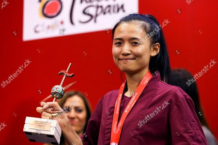 Stock Image of New Zealander chef Shuyun Chen from 'Bellota by Peter Gordon' restaurant poses after winning the 2nd edition of the Tapas World Championship 'Ciudad de Valladolid' in Valladolid, Spain, 07 November 2018.