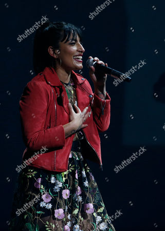 Chilean singer Ana Tijoux performs during the Fenix Iberoamerican Film Awards at the Esperanza Iris Theater in Mexico City