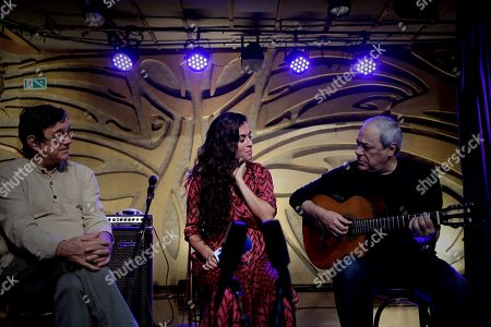 Brazilian singer Toquinho (R) performs with the Spanish singer Silvia Perez Cruz (C) and bassist Javier Colina (L) in Sao Paulo, Brazil, 07 November 2018. Antonio Pecci, Silvia Perez Cruz and Javier Colina held their first concert in Sao Paulo.