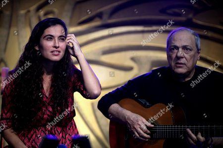 Brazilian singer Toquinho (R) performs with Spanish singer Silvia Perez Cruz (C) in Sao Paulo, Brazil, 07 November 2018. Antonio Pecci, Silvia Perez Cruz and Spanish bassist Javier Colina held their first concert in Sao Paulo.