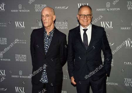 Stock Picture of Jacques Herzog, Pierre de Meuron. Honorees Jacques Herzog, left, and Pierre de Meuron attend the WSJ Magazine 2018 Innovator Awards at the Museum of Modern Art, in New York