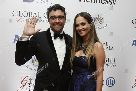 Colombian singer Andres Cepeda (L) and his wife Elisa Restrepo (R) arrive for the 'The Global Gift Gala' charity event in Medellin, Colombia, 07 November 2018. Maluma gathered several celebrities in Medellin to raise funds for his foundation 'The art of dreams'.
