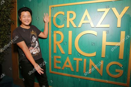 "Hudson Yang seen at Crazy Rich Eating: A Pop-Up Restaurant Inspired by ""Crazy Rich Asians"", in West Hollywood, Calif"