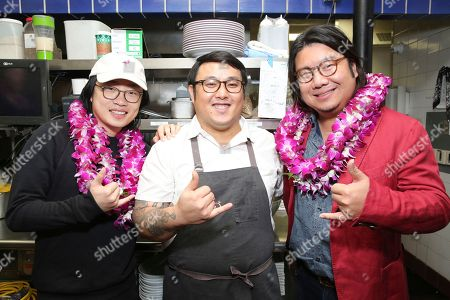 "Jimmy O. Yang, Andrew Le, Kevin Kwan. Jimmy O. Yang, chef Andrew Le and Kevin Kwan seen at Crazy Rich Eating: A Pop-Up Restaurant Inspired by ""Crazy Rich Asians"", in West Hollywood, Calif"