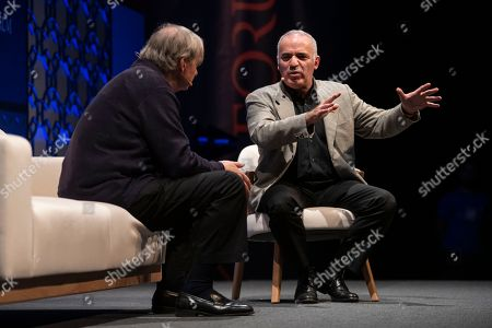 Co-Chief Investment Officer & Co-Chairman of Bridgewater Associates Ray Dalio (L) and Chess Grandmaster & Security Ambassador for Avast Garry Kasparov (R) are seen on stage at Web Summit 2018 discussing Artificial Intelligence.