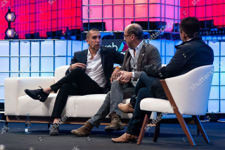 Founder of Tinder Sean Rad (L) and Former Twitter CEO Dick Costolo (C) are seen on stage at Web Summit 2018 addressing to the audience and discussing the successes and failures of today's tech industry.