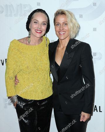 Stock Image of Sharon Stone and Christine Crokos