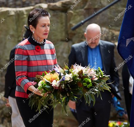 Sydney Lord Mayor Clover Moore lays a wreath during a ceremony marking the return of the first World War I (WWI) digger soldier statue created in Australia, at the Rozelle tramsheds site in Sydney, New South Wales, Australia, 08 November 2018, just few days ahead of the Remembrance Day commemorations in the country. The statue, commissioned in 1916 by Sydney tram workers at Rozelle tramsheds to honor their colleagues killed on the Western Front, was cast in cement by Irish-Australian sculptor Edwin McGowan.
